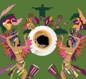 Café con tema brasileño colorido Imagen de archivo