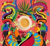 Café con tema mexicano colorido Imagen de archivo