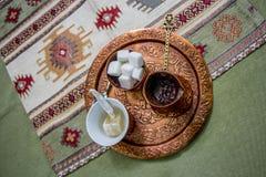 Café con un pedazo de placer turco Foto de archivo