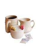 Café con y azúcar leche Imágenes de archivo libres de regalías