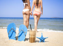 Café congelado em um Sandy Beach Fotografia de Stock