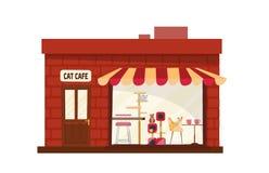 Café constructivo de un piso del gato afuera Casa con escaparate grande con el toldo rayado Gatos con los accesorios detrás del v libre illustration