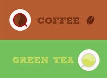 Café contra o chá verde Imagens de Stock