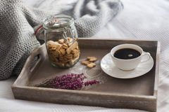 Café, cookies, charneca na bandeja Foto de Stock Royalty Free