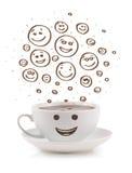 Café-copo com mão marrom as caras felizes tiradas do smiley Foto de Stock Royalty Free