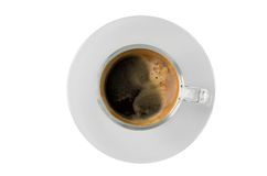 Café, copo de café no backgrouind do isolado Fotografia de Stock Royalty Free