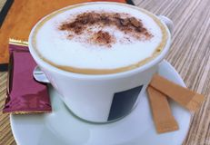 Café cremoso, café del capuchino, café del Latte, café caliente, café de la leche Fotos de archivo libres de regalías