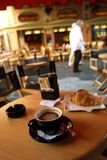 Café croissant. Café and croissant at the terrace stock image