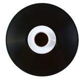 Café-cuvette et soucoupe sur l'enregistrement de vinyle images stock