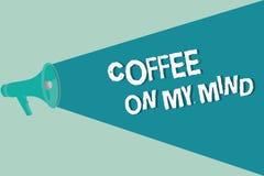 Café d'écriture des textes d'écriture sur mon esprit Dépendance de signification de concept au café Starbucks pensant au breaktim illustration de vecteur