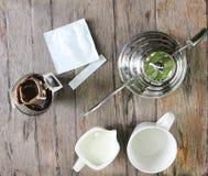 Café d'égouttement ou café chaud Photo libre de droits