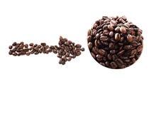 Café d'amour fait à partir des grains de café Images stock