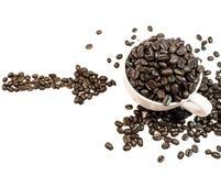 Café d'amour fait à partir des grains de café Photos libres de droits