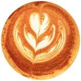Café da arte do Latte isolado no fundo branco Fotografia de Stock Royalty Free