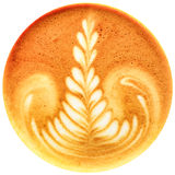 Café da arte do Latte isolado no fundo branco Fotografia de Stock