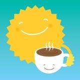 Café da bebida de Sun de um copo branco na manhã Foto de Stock Royalty Free