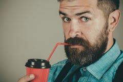 Café da boa manhã café maduro da bebida do moderno Completamente da energia Homem com barba o homem farpado brutal com leva embor fotografia de stock royalty free