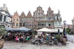 Café da caminhada lateral em Ghent, Bélgica Imagem de Stock Royalty Free