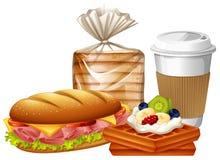 Café da manhã ajustado com waffles e pão ilustração royalty free
