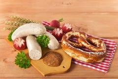 Café da manhã bávaro da salsicha da vitela Imagem de Stock Royalty Free