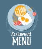 Café da manhã bonito do vetor: ovos, pão do brinde, tomates e aneto em uma placa Ilustrações coloridas do moderno do grunge do ve Fotografia de Stock