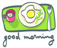 Café da manhã: café e ovos fritos Ilustração do vetor Imagens de Stock Royalty Free