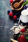 Café da manhã com aveia e bagas Imagem de Stock Royalty Free