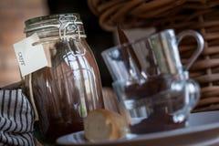Café da manhã com coffe e croissant Imagens de Stock