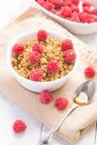 Café da manhã com framboesas e mel Fotografia de Stock