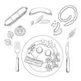 Café da manhã com mantimentos e salsicha Imagens de Stock Royalty Free