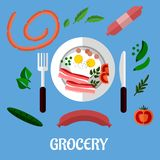 Café da manhã com projeto liso dos mantimentos Imagem de Stock