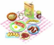 Café da manhã da ilustração da aquarela Fotos de Stock Royalty Free
