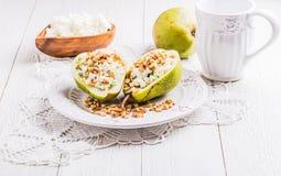 Café da manhã das peras com queijo Imagens de Stock Royalty Free
