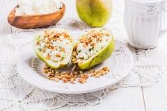 Café da manhã das peras com queijo Fotografia de Stock Royalty Free