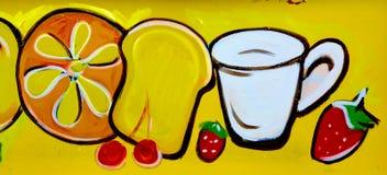 Café da manhã de Montreal da arte da rua imagens de stock