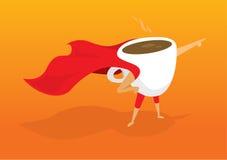 Café da manhã do café do super-herói que aponta a ajuda ao salvamento da manhã ilustração stock