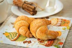 Café da manhã do croissant Imagem de Stock