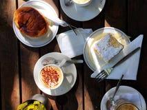 Café da manhã do café e do pão Fotografia de Stock Royalty Free