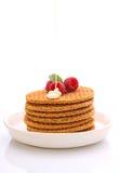 Café da manhã do fim de semana: waffles com leite condensado Fotografia de Stock Royalty Free