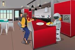Café da manhã do serviço do robô Foto de Stock