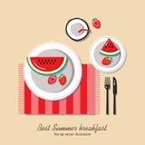 Café da manhã do verão, ilustração lisa do vetor da configuração Fotografia de Stock Royalty Free