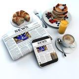 Café da manhã e jornal Fotografia de Stock Royalty Free