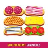 café da manhã 1205 elementos 12 ilustração do vetor