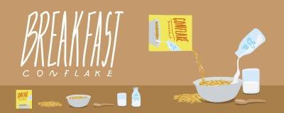 Café da manhã-flocos de milho saudáveis e vetor do respingo do leite Imagens de Stock