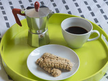 Café da manhã italiano na cama Imagens de Stock