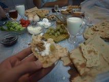 Café da manhã na família iraniana Fotos de Stock Royalty Free