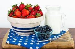 Café da manhã nutritivo do fruto e do leite Fotografia de Stock Royalty Free