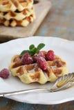 Café da manhã perfeito do waffle fotografia de stock