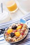 Café da manhã que caracteriza o muesli e os frutos secos Imagens de Stock Royalty Free