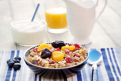 Café da manhã que caracteriza o muesli e os frutos secos Foto de Stock Royalty Free